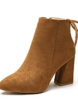 cheap -Women's Shoes PU Suede Winter Comfort Boots Pointed Toe For Casual Brown Beige Black