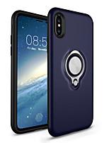Недорогие -Кейс для Назначение Apple iPhone X / iPhone 8 Кольца-держатели Кейс на заднюю панель Однотонный Твердый ПК для iPhone X / iPhone 8 Pluss / iPhone 8