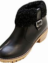 abordables -Femme Chaussures Gomme Hiver boîtes de Combat Bottes Bout rond Pour Noir Beige