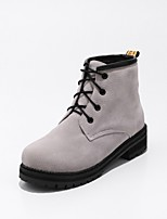 Women's Shoes Leatherette Fall Winter Fashion Boots Boots Round Toe Booties/Ankle Boots Buckle For Casual Dress Almond Green Gray Orange