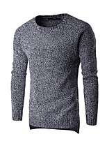 Men's Daily Casual Active Regular Pullover,Solid Color Block Round Neck Long Sleeves Cotton Winter Spring/Fall Medium Micro-elastic