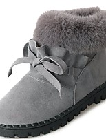 cheap -Women's Shoes PU Winter Fur Lining Comfort Fashion Boots Boots Round Toe Booties/Ankle Boots For Casual Gray Black
