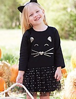 Girl's Holiday Going out Pattern Cat Dress,Cotton