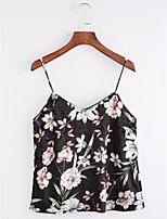 Women's Daily Sophisticated Fall Tank Top,Floral Strap Sleeveless Polyester Medium