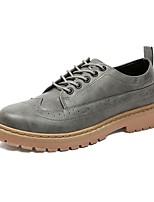 Для мужчин обувь Полиуретан Весна Осень Удобная обувь Туфли на шнуровке Назначение Повседневные Черный Серый Коричневый