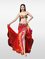 Belly Dance Outfits Women's Performance Cotton Polyester Lace Bead Pleated Petals Crystals/Rhinestones Skirts Bra
