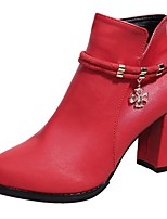 cheap -Women's Shoes PU Fall Fashion Boots Boots Pointed Toe Mid-Calf Boots Rhinestone For Casual Red Black