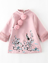 Girl's Casual/Daily Going out Patchwork Embroidered Dress,Polyester Fall Winter Long Sleeves
