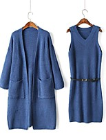 Women's Going out Work Wear Casual Street chic Spring/Fall Wrap Dress Suits
