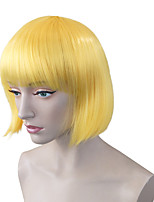 Women Synthetic Wig Capless Short Kinky Straight Yellow Natural Hairline Bob Haircut With Bangs Celebrity Wig Halloween Wig Carnival Wig