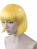 Donna Parrucche sintetiche Pantaloncini Kinky liscia Giallo Attaccatura dei capelli naturale Taglio medio corto Con frangia Parrucca