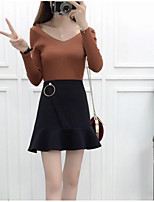Women's Daily Casual Winter Sweater Skirt Suits,Solid V Neck Long Sleeves Modal Nylon