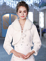 Long Sleeves Faux Fur Wedding Party / Evening Women's Wrap With Lace-up Pom-pom Shrugs
