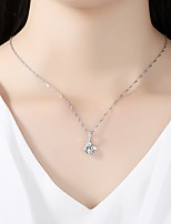 Women's Pendant Necklaces Cubic Zirconia Rhinestone Geometric Silver Cubic Zirconia Simple Elegant Jewelry For Wedding Evening Party