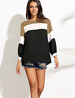 cheap -Women's Daily Going out Street chic Punk & Gothic All Seasons Blouse,Color Block Round Neck Long Sleeves Acrylic Polyester Medium