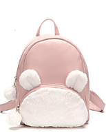 Women Bags All Season Fur Backpack Feathers / Fur for Casual Black Red Blushing Pink Gray