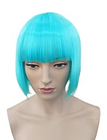 Women Synthetic Wig Capless Short Kinky Straight Light Blue Natural Hairline Bob Haircut With Bangs Celebrity Wig Cosplay Wig Natural Wigs