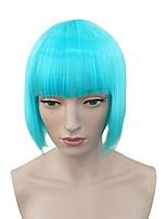 Donna Parrucche sintetiche Pantaloncini Kinky liscia Azzurro chiaro Attaccatura dei capelli naturale Taglio medio corto Con frangia