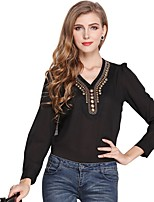 cheap -Women's Daily Going out Cute Active Street chic All Seasons Blouse,Solid V Neck Long Sleeve Polyester Medium
