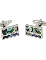 cheap -Rectangle Silver Cufflinks Fashion Gift Work Men's Costume Jewelry