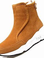 preiswerte -Damen Schuhe Nubukleder Winter Modische Stiefel Stiefel Flacher Absatz Runde Zehe Mittelhohe Stiefel Für Normal Schwarz Gelb