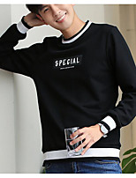 cheap -Men's Daily Sweatshirt Solid Letter Round Neck Cotton Long Sleeves