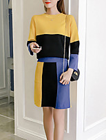 Women's Daily Going out Active Sweater Skirt Suits,Color Block