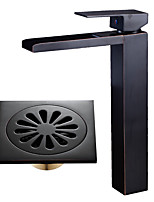 Centerset Waterfall with  Ceramic Valve Single Handle One Hole for  Oil-rubbed Bronze , Bathroom Sink Faucet