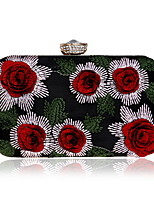 Women Bags Polyester Evening Bag Crystal Detailing Embroidery for Wedding Event/Party All Season Gold Silver Red black