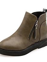 preiswerte -Damen Schuhe PU Frühling Herbst Komfort Stiefel Für Schwarz Armeegrün