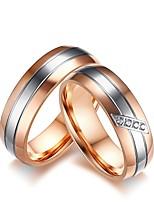 Homens Mulheres Anel de noivado Conjuntos de anéis Zircônia Cubica Gema Zircônia Cubica Aço Titânio Jóias Para Casamento Festa de Noite