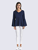 Women's Daily Holiday Street chic Shirt,Solid V Neck Long Sleeves Polyester