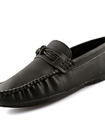 Men's Shoes PU Spring Fall Moccasin Loafers & Slip-Ons for Casual Black Gray Brown Blue
