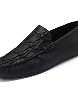 Men's Shoes Synthetic Microfiber PU PU Spring Fall Moccasin Comfort Loafers & Slip-Ons For Casual Black