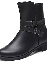 abordables -Femme Chaussures Gomme Hiver boîtes de Combat Bottes Bout rond Pour Noir