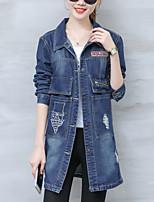 Veste en jean Femme,Couleur Pleine Sortie Décontracté / Quotidien simple Automne Manches Longues Col de Chemise Normal Coton Polyester