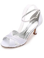 Femme Chaussures Soie Printemps Eté Escarpin Basique Chaussures de mariage Talon Bas Bout ouvert Boucle pour Mariage Soirée & Evénement