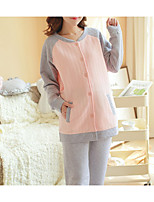 Costumes Pyjamas Femme,Couleur unie Coton Polyester Gris Clair