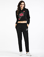 Women's Daily Holiday Sexy Street chic Winter Fall Hoodie Pant Suits,Embroidery Hooded Long Sleeves Polyester