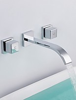 Comtemporary Widespread Wall Mount High Quality Brass Valve Two Handles Three Holes Chrome , Bathroom Sink Faucet