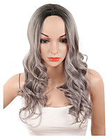 cheap -Long Wavy Ombre Grey Wigs 26 Inch American Women Sytnehtic Two Tones Female Wig HighTemperature Fiber Body Wave Cosplay Party Hair