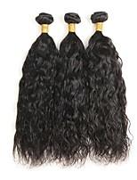 Недорогие -Натуральные волосы Реми Перуанские волосы Человека ткет Волосы Естественные волны Наращивание волос 4 Черный