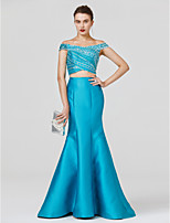 Mermaid / Trumpet Off-the-shoulder Floor Length Satin Jersey Formal Evening Dress with Beading Criss Cross by TS Couture®