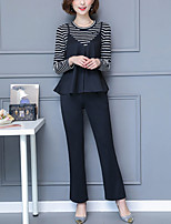 Women's Going out Plus Size Street chic T-Shirt Pant Suits,Striped Long Sleeves Patchwork Cotton Polyester
