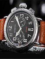 Men's Fashion Watch Dress Watch Quartz Calendar Noctilucent Leather Band Casual