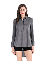 cheap -Women's Daily Wear Sophisticated Spring/Fall Shirt,Solid Shirt Collar Long Sleeves Polyester Medium