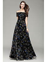 A-Line Bateau Floor Length Organza Formal Evening Dress with by YIYIAI