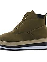 preiswerte -Damen Schuhe Nubukleder Winter Springerstiefel Stiefel Runde Zehe Mittelhohe Stiefel Für Normal Schwarz Khaki
