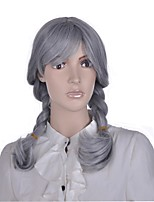 Women Synthetic Wig Capless Medium Length 360 Frontal Grey Braided Wig Layered Haircut Cosplay Wig Natural Wigs Costume Wig