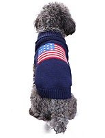 cheap -Cat Dog Costume Coat Sweater Dog Clothes Casual/Daily Keep Warm Wedding Halloween Christmas New Year's American/USA Flag Blue Costume For
